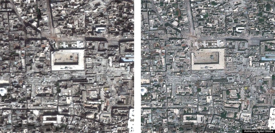 Aerial photographs of Umayyad Mosque and vicinity, Aleppo, before and after. Do you see Aleppo?