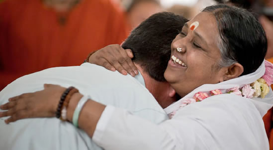 Amma, the hugging saint. We take inspiration from these great lives.