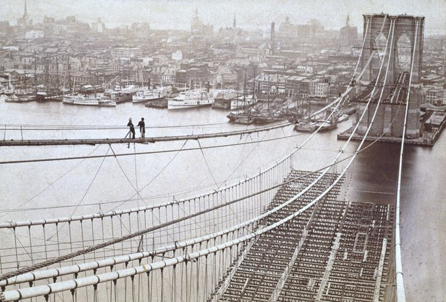 Brooklyn Bridge 1877 I must stretch myself in space and time.