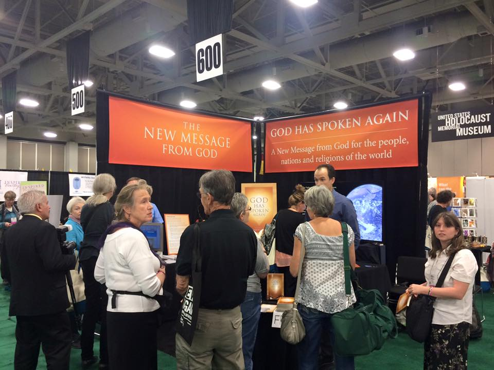 New Message from God booth at 2015 Parliament of the World's Religions. I hope for religions to love one another