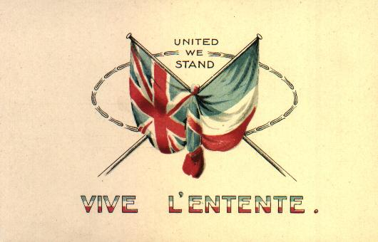 British and French flags, entente cordiale. Is there a hope for friendship between nations?