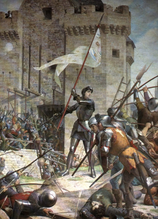 "Joan at the siege of Orleans, Jules Lenepveu, 1889. Joan told her voices ""I do not know how to ride or fight."""