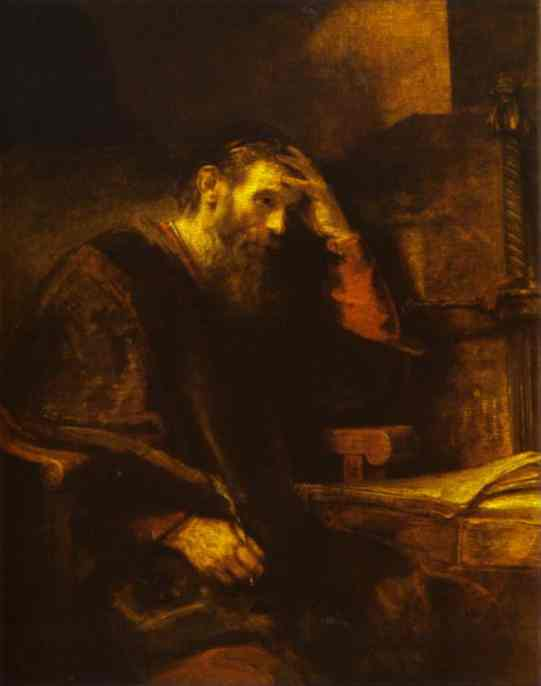 The Apostle Paul by Rembrandt. See what large letters I use