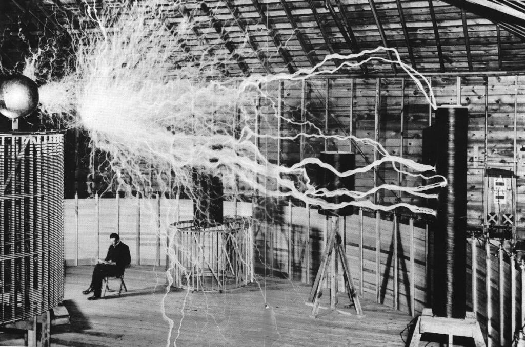 Tesla in his lab. We take inspiration from these great lives.
