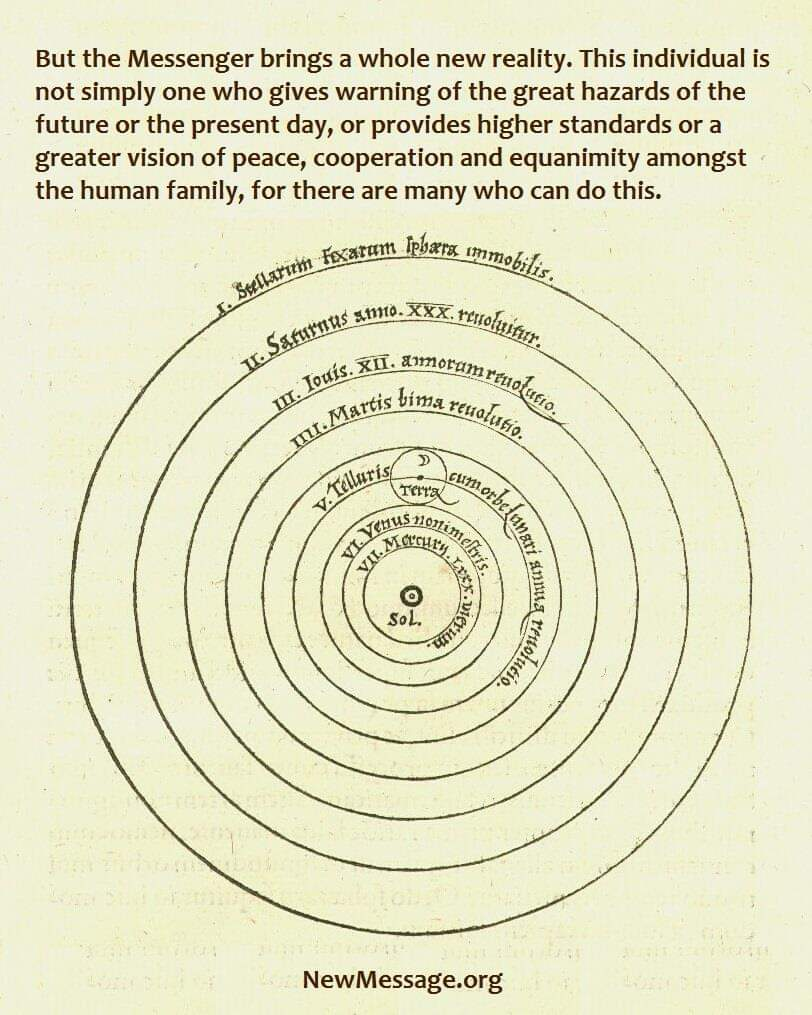 Copernicus showing the planets and the Messenger. A new reality doesn't happen every day